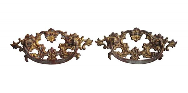 Cabinet & Furniture Pulls - Pair of French Brass Cut Out Bail Drawer Pulls
