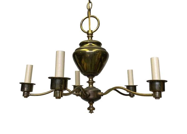 Chandeliers - Restored 1950s Georgian Brass 5 Arm Chandelier