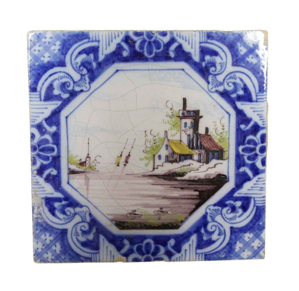 Collectors Tiles - Hand Painted Danish Sailing Tile 6 x 6