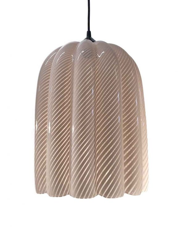 Down Lights - Modern Pink Candy Cane Murano Glass 11.5 in. Pendant Light