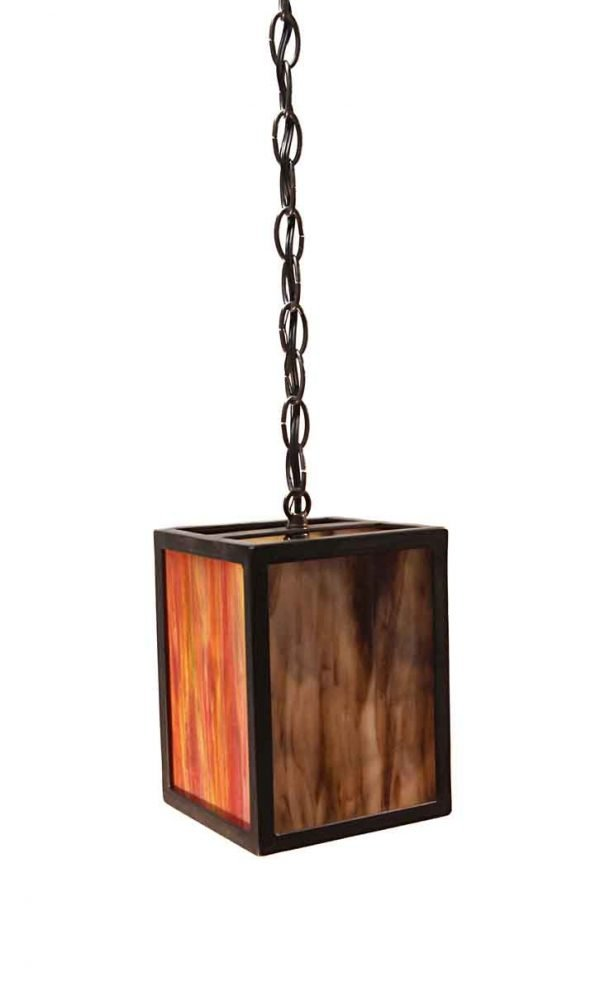 Down Lights - Modern Stained Glass Lantern with Black Iron Frame