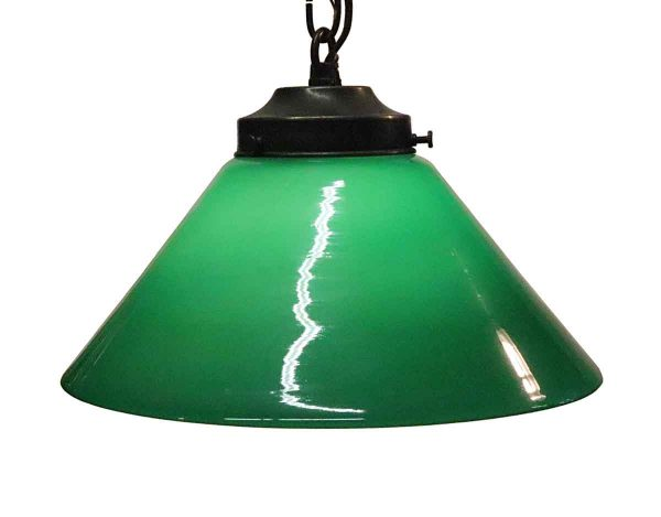 Down Lights - Petite Green Shade with Brass Chain Pendant Light