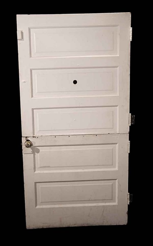 Entry Doors - Antique 5 Pane White Wood Dutch Door 84.5 x 41.75
