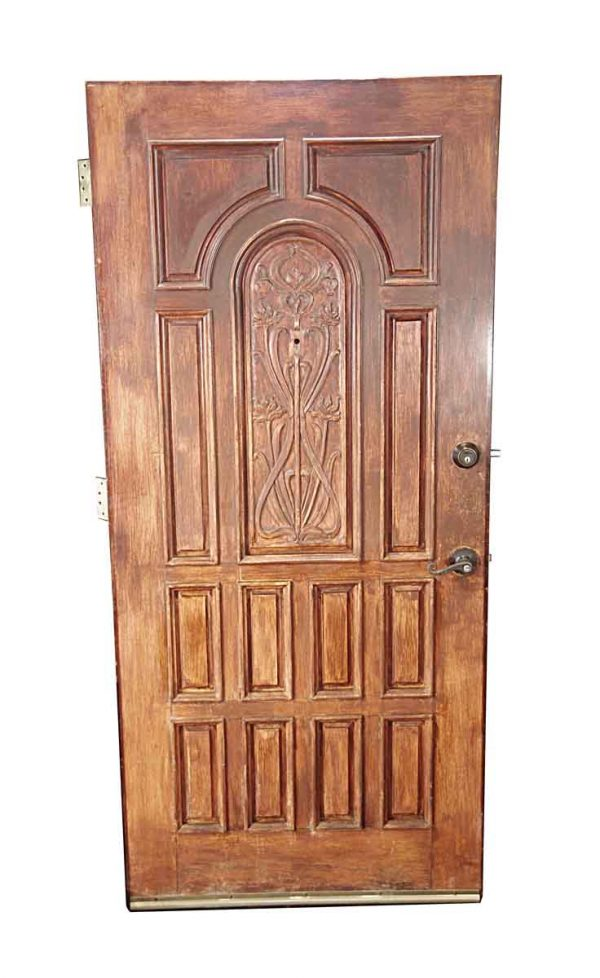 Entry Doors - Antique Art Nouveau 13 Pane Mahogany Entry Door 78.875 x 3