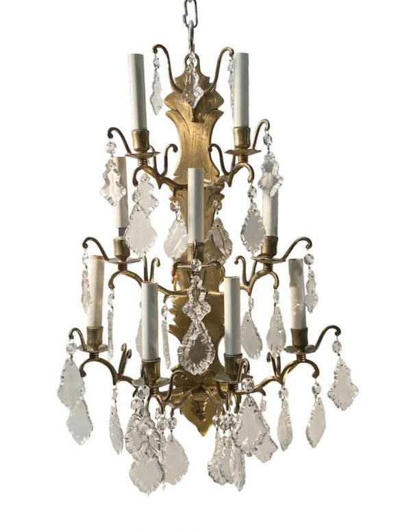Famous Building Artifacts - New York Plaza Hotel 9 Arm Brass & Crystal French Sconce