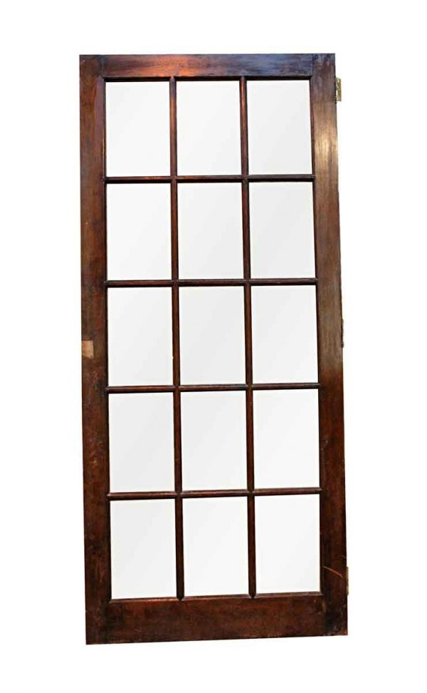 French Doors - Antique 15 Lite Birch French Door 76 x 33.5