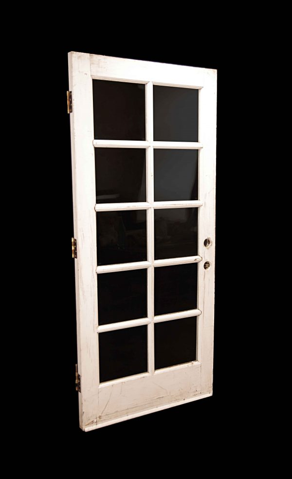 French Doors - Vintage 10 Lite White Wood French Door 77 x 34.5