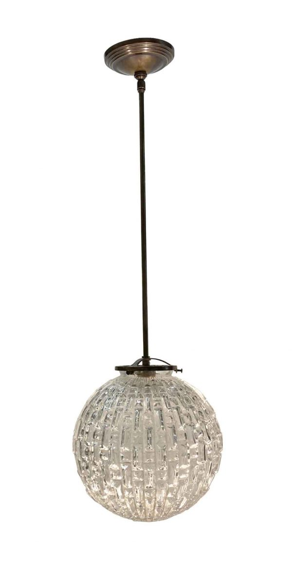 Globes - Mid Century Textured 10 in. Globe Brass Pendant Light