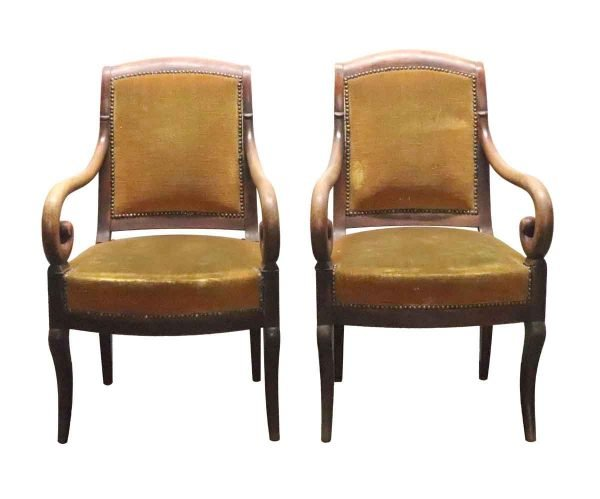 Living Room - Pair of Empire Arm Chairs with Wood Carved Scrolling Arms