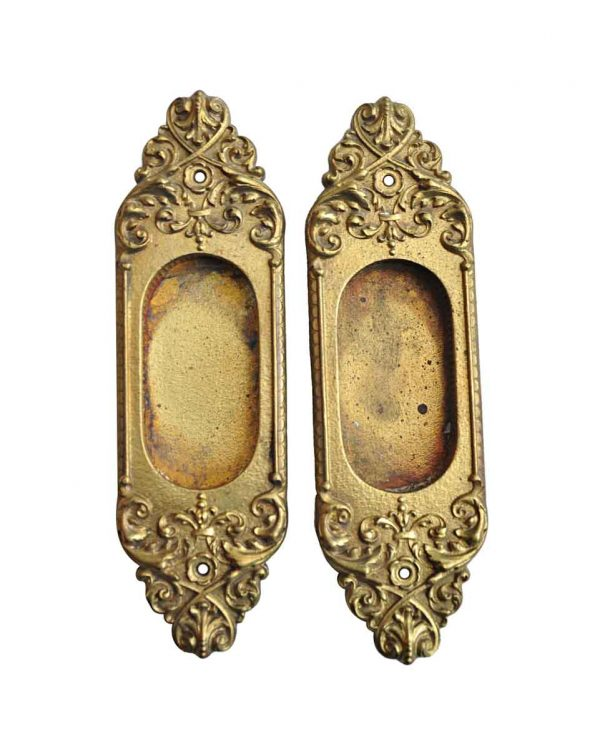 Pocket Door Hardware - Pair of Antique Yale & Towne Pocket Door Brass Plates