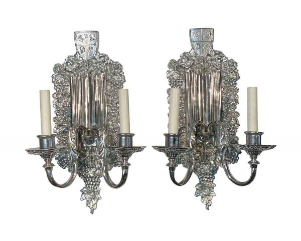 Sconces & Wall Lighting - 1900s Pair of E.F Caldwell American Silvered Bronze Wall Sconces