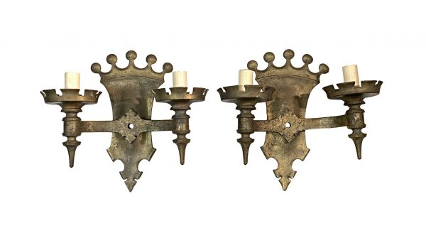 Sconces & Wall Lighting - 1920s Gothic Crown Top Bronze Wall Sconces