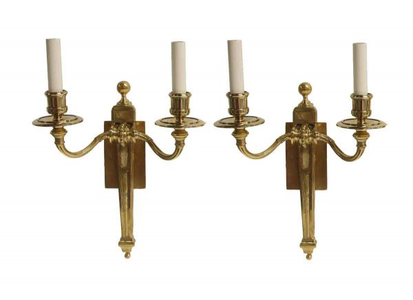 Sconces & Wall Lighting - Antique Federal Cast Brass Double Arm Wall Sconces