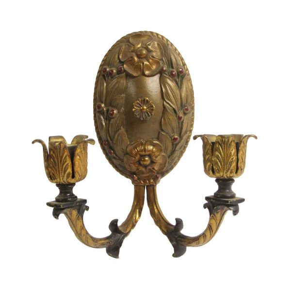 Sconces & Wall Lighting - Antique French Floral Bronze Candle Sconce