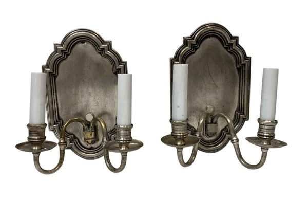 Sconces & Wall Lighting - Antique Silver Finish Brass 2 Arm Georgian Wall Sconces