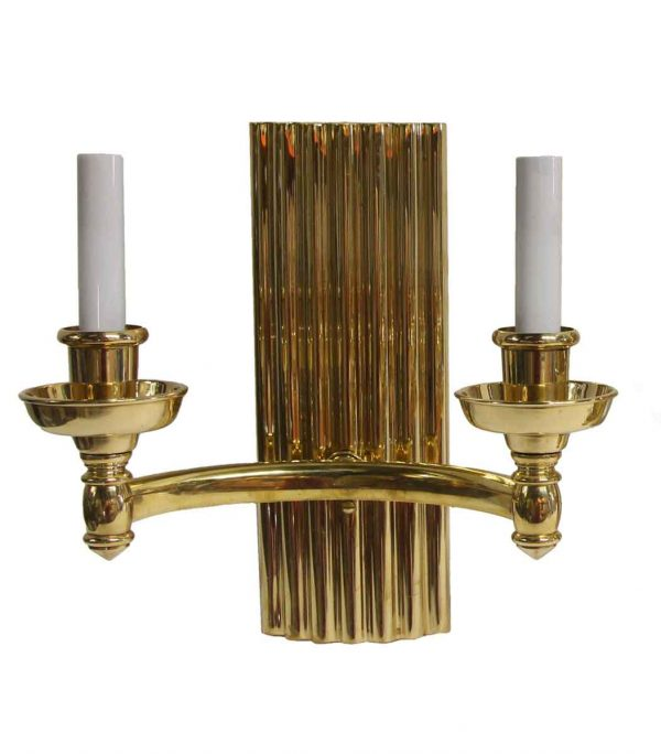 Sconces & Wall Lighting - Double Arm Art Deco Style Polished Cast Brass Sconce
