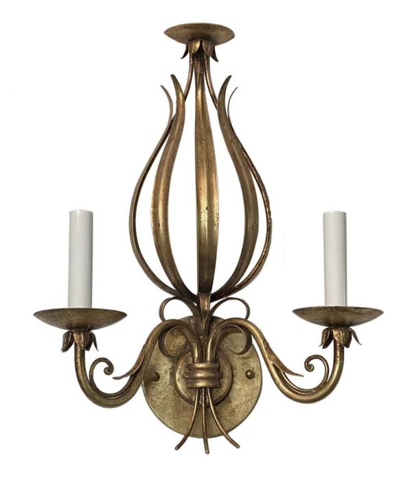 Sconces & Wall Lighting - Florentine Wrought Iron Foliage Gold Gilt Wall Sconce