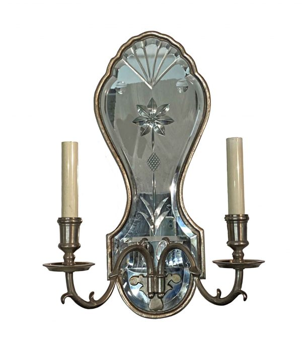 Sconces & Wall Lighting - French Etched Mirrored Silver Sconce with Nickel Arms