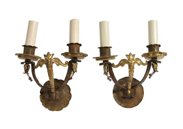 Sconces & Wall Lighting - Gilded Figural Hand Hammered Wrought Iron Sconces
