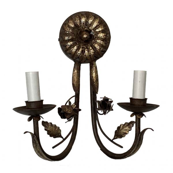 Sconces & Wall Lighting - Gilded Wrought Iron Florentine 2 Arm Wall Sconce