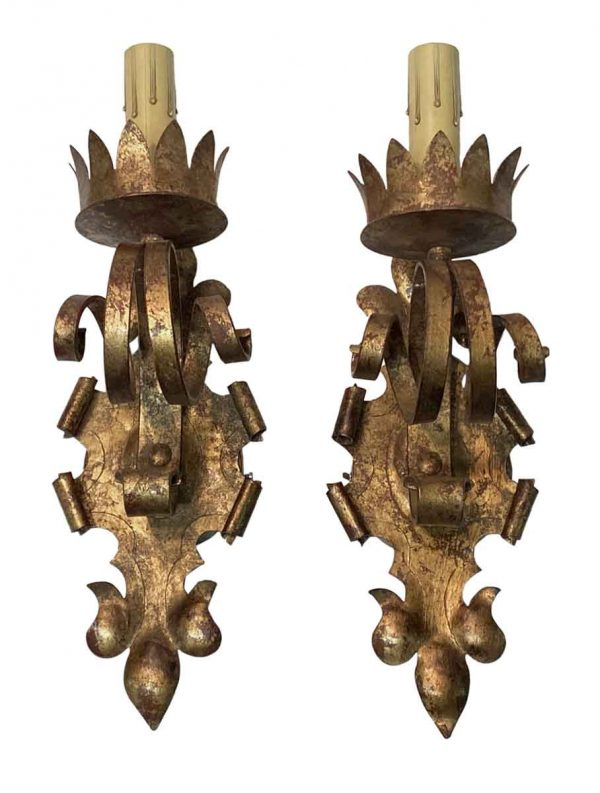 Sconces & Wall Lighting - Gold Gilt Over Wrought Iron Gothic Wall Sconces