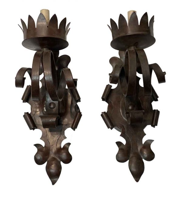 Sconces & Wall Lighting - Gothic Burgundy Finish Wrought Iron Foliage Wall Sconces