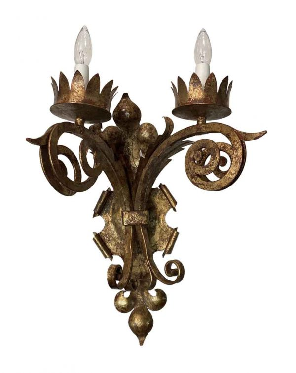 Sconces & Wall Lighting - Gothic Gold Gilt Over Wrought Iron Wall Sconce
