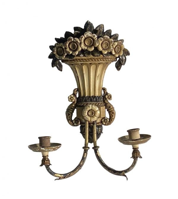 Sconces & Wall Lighting - Oversized Cast Bronze Italian Hand Painted Floral Sconce