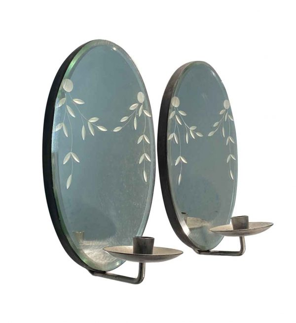 Sconces & Wall Lighting - Pair of Etched Beveled Mirror Candle Sconces