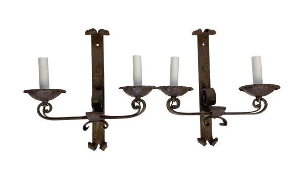 Sconces & Wall Lighting - Pair of French Wrought Iron 2 Arm Wall Sconces