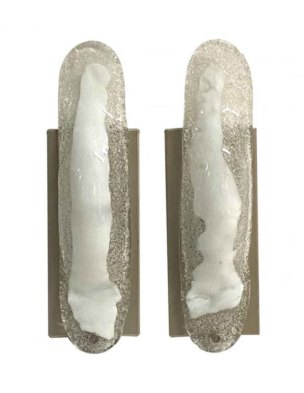 Sconces & Wall Lighting - Pair of Modern Murano Clear & White Glass Wall Sconces