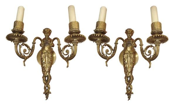 Sconces & Wall Lighting - Pair of Putti Bronze Figural Wall Sconces