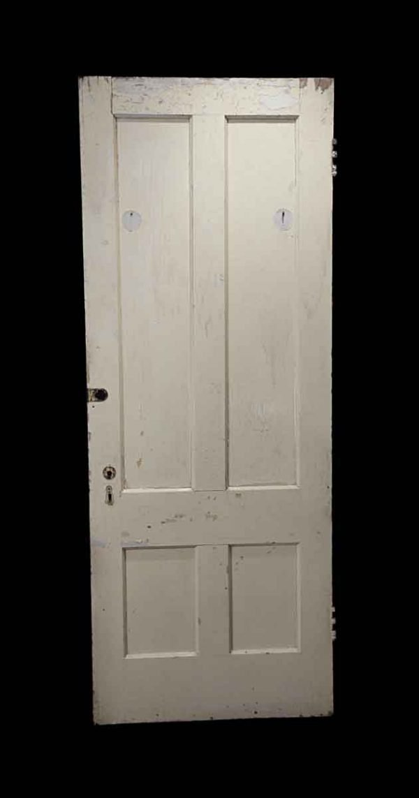 Standard Doors - Antique 4 Pane White Wood Privacy Door 77 x 29.75