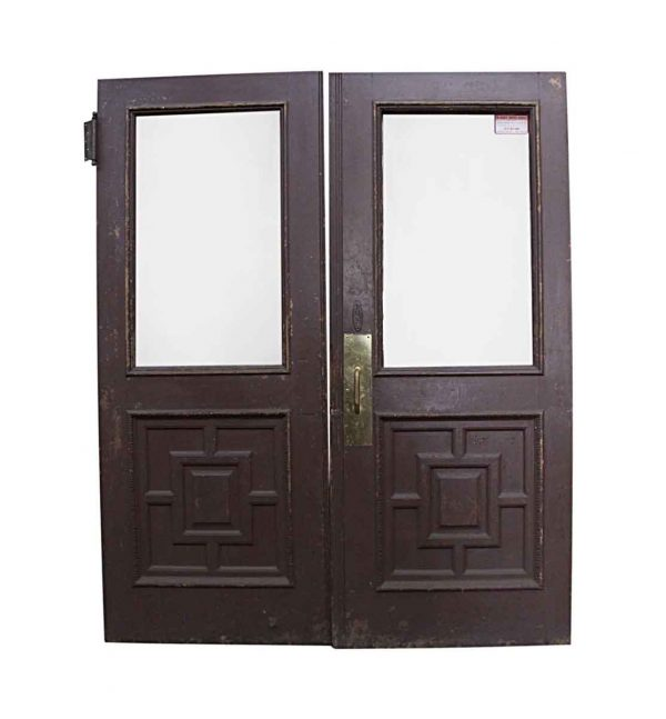 Standard Doors - Antique Half Lite Wood Swinging Double Doors 83.75 x 68.625