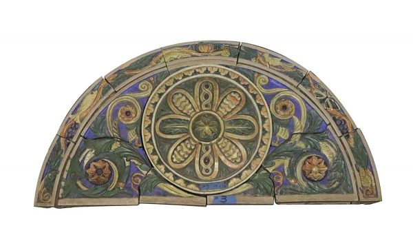 Stone & Terra Cotta - Polychrome Terra Cotta Arched Frieze Floral Medallion from Synagogue