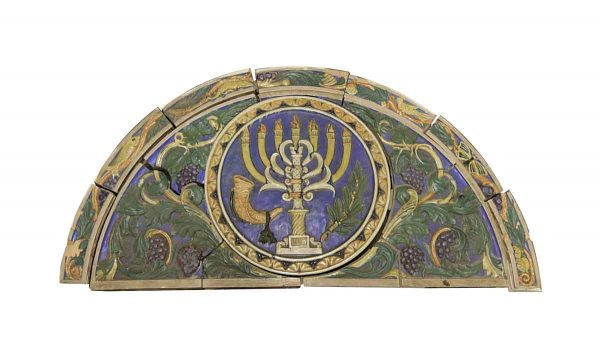 Stone & Terra Cotta - Polychrome Terra Cotta Arched Frieze Menorah from Synagogue
