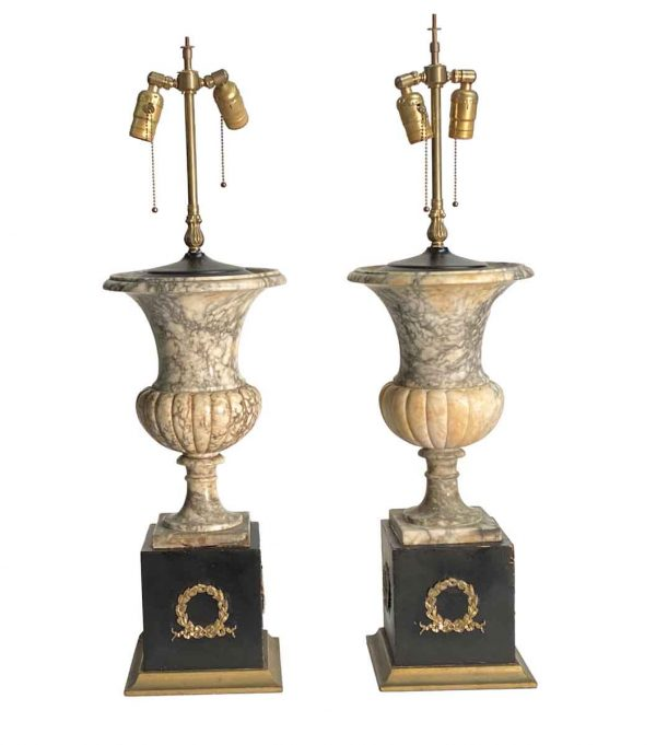 Table Lamps - Pair of Marble Table Lamps with Wreath Motif Bases