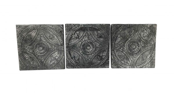 Tin Panels - Antique Washed Black Wagon Wheel Tin Panel Set