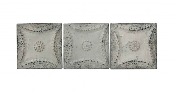Tin Panels - Set of White Antique Snowflake Tin Panels