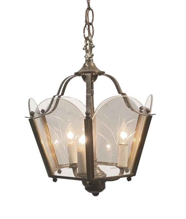 Wall & Ceiling Lanterns - 1950s Traditional Etched Glass Foyer Hallway Hanging Lantern