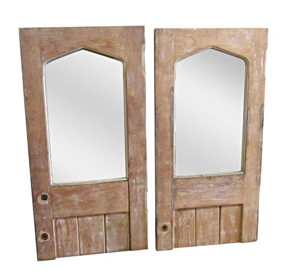 Cabinet Doors - Pair of Mirrored Wooden Cabinet Doors 48 x 23.75