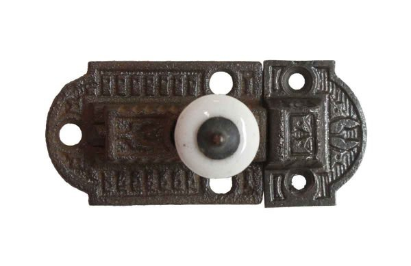 Cabinet & Furniture Latches - Victorian 2.75 in. Cast Iron & Porcelain Cabinet Latch
