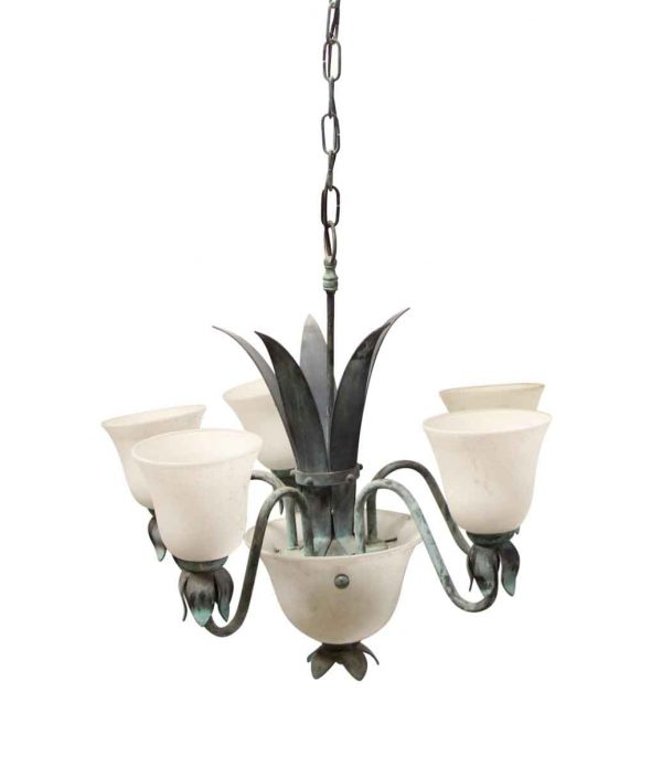 Chandeliers - 1980s French Green Leaf Frosted Shades Chandelier
