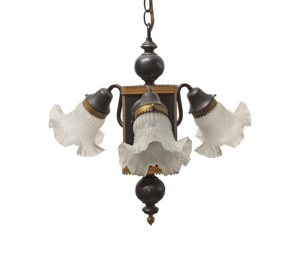 Chandeliers - Victorian Black & Gold Ruffled Shades Foyer Chandelier