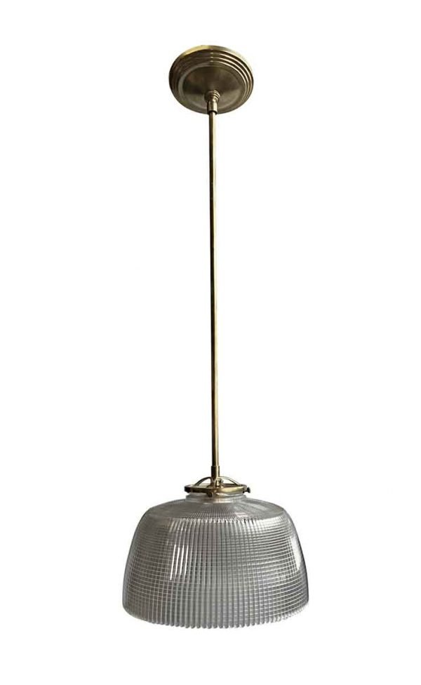 Down Lights - 1920s Holophane 9.5 in. Shade Brass Kitchen Pendant Light