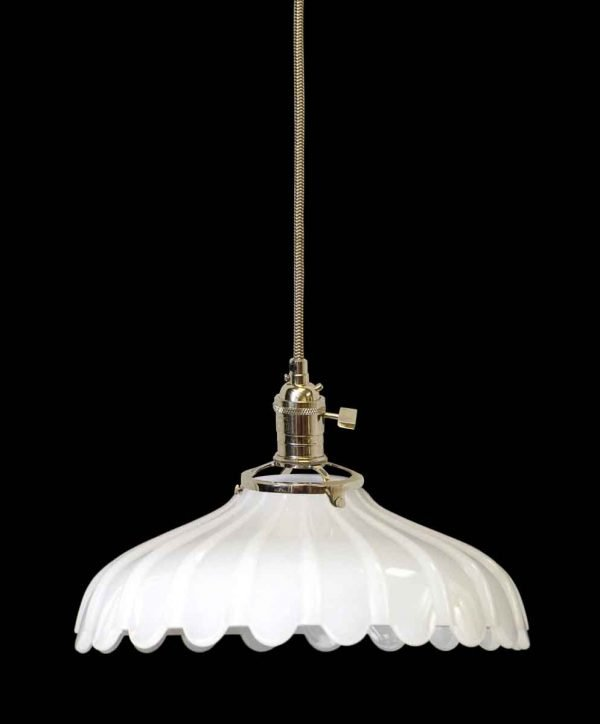 Down Lights - 1920s Milk Glass 9 in. Shade Pendant Light