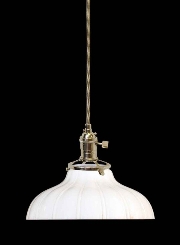 Down Lights - 1920s Opaque 9 in. Milk Glass Shade Pendant Light