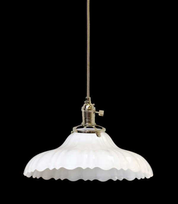 Down Lights - Antique 1920s Milk Glass 9.75 in. Shade Pendant Light