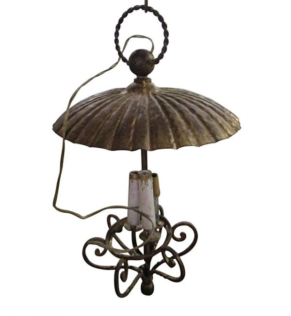 Down Lights - Antique 3 Candle Stick Pendant Light with Shade