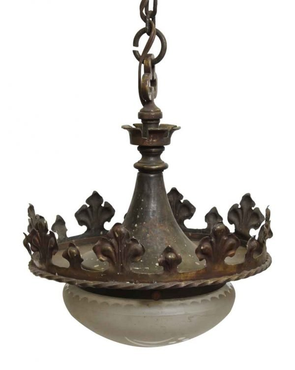 Down Lights - Antique Bronze Gothic Frosted Glass Pendant Light